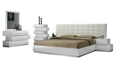 Milan Contemporary Queen Bedroom Set in White, -