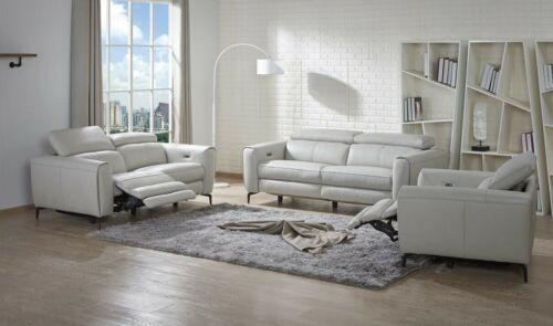 Lorenzo Motion Living Room Set in Light Grey, 3-Piece