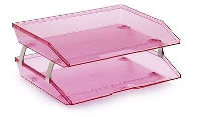 Acrimet Facility 2 Tiers Double Letter Tray Clear Pink Color