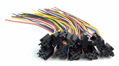 10 Pack 12 5-wire 5-pin Relay Harness Socket W Leads Ers-124 Install Bay