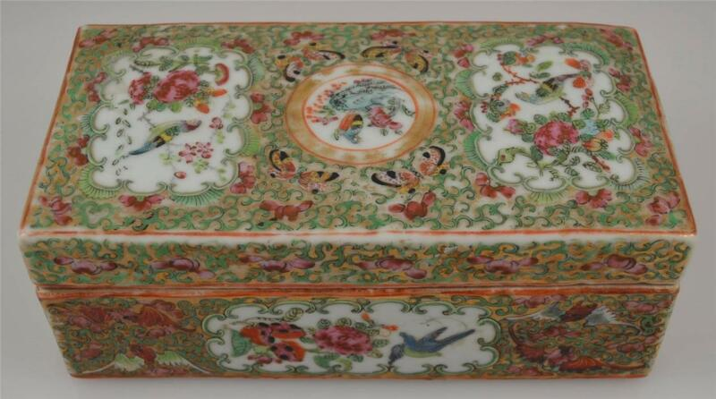 CHINESE EXPORT FAMILLE ROSE BRUSH BOX-MID 19TH C. BRUSH BOX