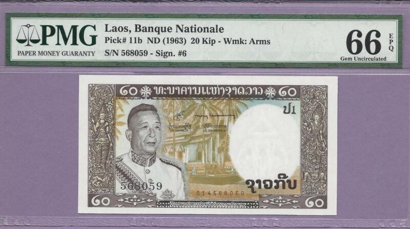 """1963 Laos,Banque Nationale  Pick 11b  PMG EPQ  """"SCROLL DOWN FOR SCANS"""""""