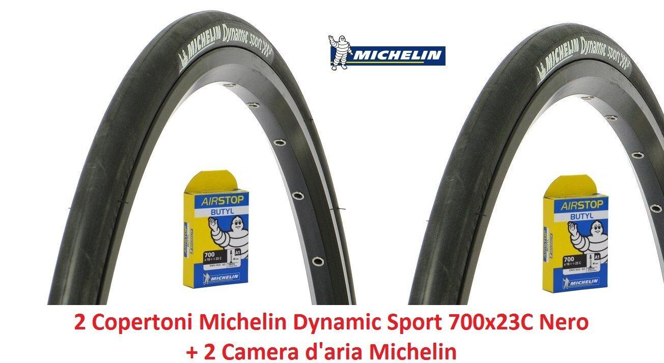 """2 Camera Michelin Dynamic Sport 700x23C Nero per Bici 28/"""" Corsa 2 Copertoni"""