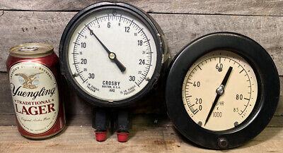 Vtg Heavy Pressure Gauge Steampunk Lot Of Two Crosby Metal Wow