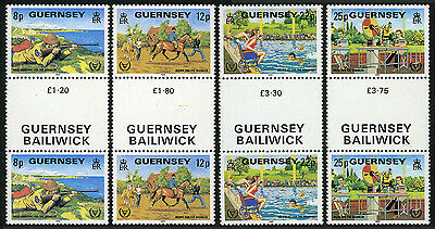 Guernsey 232-235 gutter pairs, MNH. Year of the Disabled. Riding, Swimming, 1981