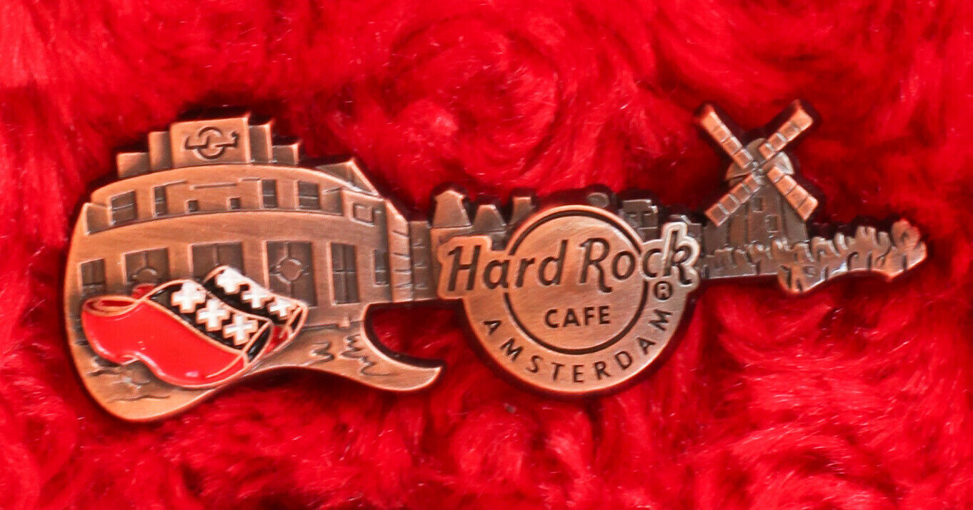 Hard Rock Cafe Pin AMSTERDAM 3D Skyline Bronze Facade Guitar Core Flag Windmill - $16.99