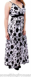WOMENS 14/16, 18/20, 22/24  BLACK WHITE TOP  LADIES  MAXI 1X,2X,3X DRESS