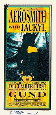 MINT & SIGNED Aerosmith 1994 Gund Arena Cleveland Arminski Handbill