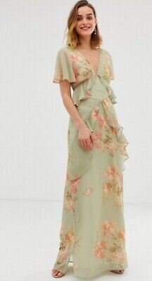 ASOS Hope & Ivy  Ruffle Floaty Maxi Dress In Sage Green Floral Print Size 10