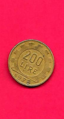 ITALY ITALIAN KM105 1978 VF-VERY-NICE LARGE OLD VINTAGE USED 200 LIRE COIN