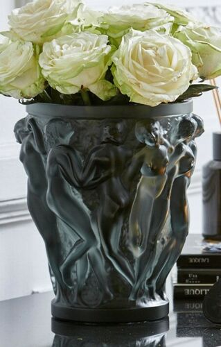 NEW AUTHENTIC LARGE LALIQUE BACCHANTES BRONZE CRYSTAL VASE (LARGE)