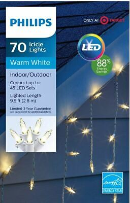 Philips 70ct Christmas LED Icicle String Lights Warm White White Wire 9.5 FT L