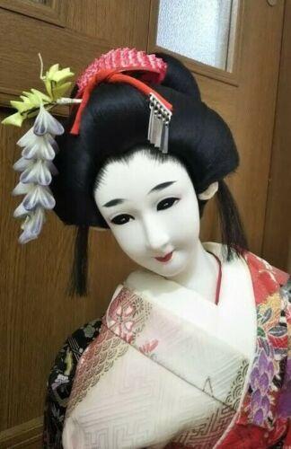 "Japanese Geisha Maiko on wooden base BEAUTIFUL vintage!! Bijin 22"" 58cm Red"