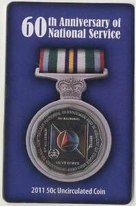 2011 National Service 60th Anniversary Carded - UNC 2011 50c Coin Wembley Cambridge Area Preview