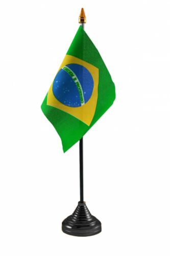 """BRAZIL TABLE FLAG 6"""" X 4"""" with pole & base Polyester cloth BRAZILIAN FLAGS"""