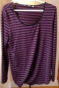 purple striped size M $10, & other tops
