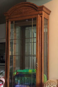 Tall strong wooden china cabinet