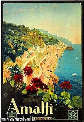 1927 Amalfi Coast Italy Italian Art Travel Vintage Advertisement Poster Print