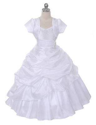 New White Floor Length Flower Girl Princess Dress Pageant First Communion - Communion Dresses Usa