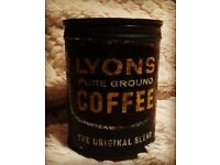 Lyons pure ground coffee tin