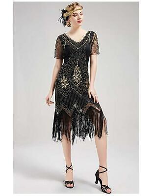 1920er Jahre Pailletten Kleid Vintage Flapper Great Gatsby Fransen Partykleider
