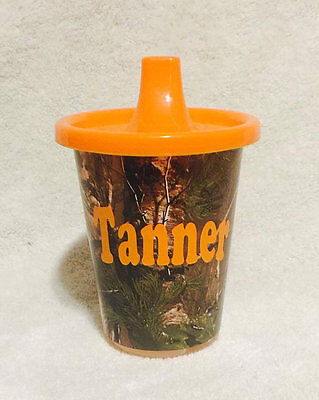 Custom Sippy Cups (Camo Green Orange Pink Personalized Custom Sippy Cup Boy Girl Toddler Gift)