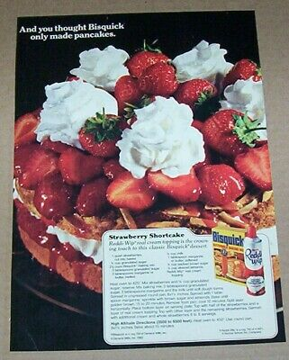 1982 print ad page -REDDI-WIP whipped cream Bisquick Strawberry Shortcake recipe