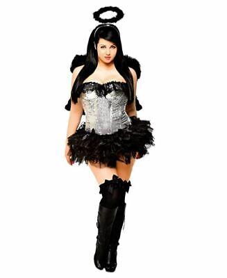 Daisy Corsets Women's 4 Piece Sequin Dark Angel Costume, Silver, Small](Dark Angel Costumes For Women)