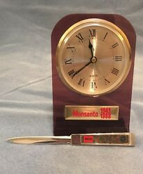 Vintage Monsanto Company Desk Clock And Letter Opener