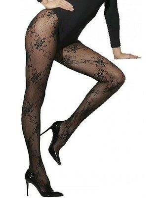 Black Tights with Lace Pattern Print Sexy Halloween Fancy Dress Accessory](Halloween Costumes With Tight Black Dress)