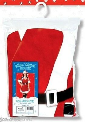 LADIES MISS CLAUS SANTA SUIT CHRISTMAS FANCY DRESS COSTUME DRESS HAT CAPE & BELT