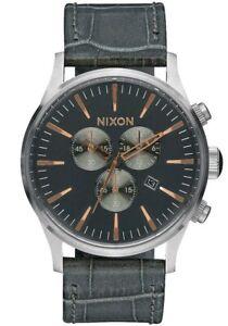 Nixon Men's 42mm Sentry Chrono Leather Watch - Grey Gator