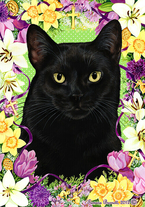 Easter Garden Flag - Black Cat 339511