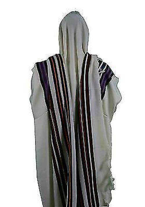 """Bnei Or Clean Wool Tallit with Seven Colored Stripes   Size 18""""x72"""""""