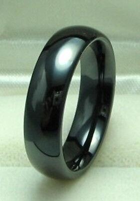 Black Ceramic Ring (Men 6mm Black CERAMIC WEDDING BAND Comfort Fit ring size 7 to)