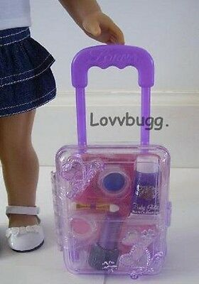 "Lovvbugg Lavender Rolling Doll Suitcase w/ makeup for 18"" American Girl Doll Accessory"