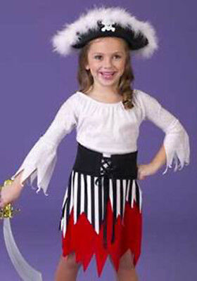 New PIRATE Girl's Dress & Feather Hat Children's Halloween Costume Outfit M 8-10 - Girl Pirate Outfit