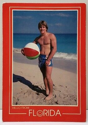 1970's Hunk on the Beach Having a Ball in Florida Postcard - Balls On The Beach