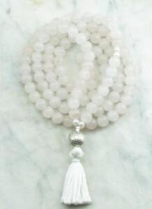 8mm pink quartz pearl Natural gemstones Mala knotted Necklace Buddhist Prayer