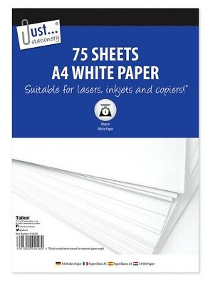 A4 White Copier Paper 80gsm 75 Sheets Photocopy Printer Paper Office School Home