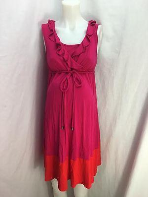 Liz Lange Maternity Nursing Friendly Pink & Red Sleeveless Dress Size Small