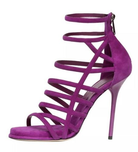 Paul Andrew Womens Ziya Tulip Purple Suede Shoes Sandals High Heels 37 7