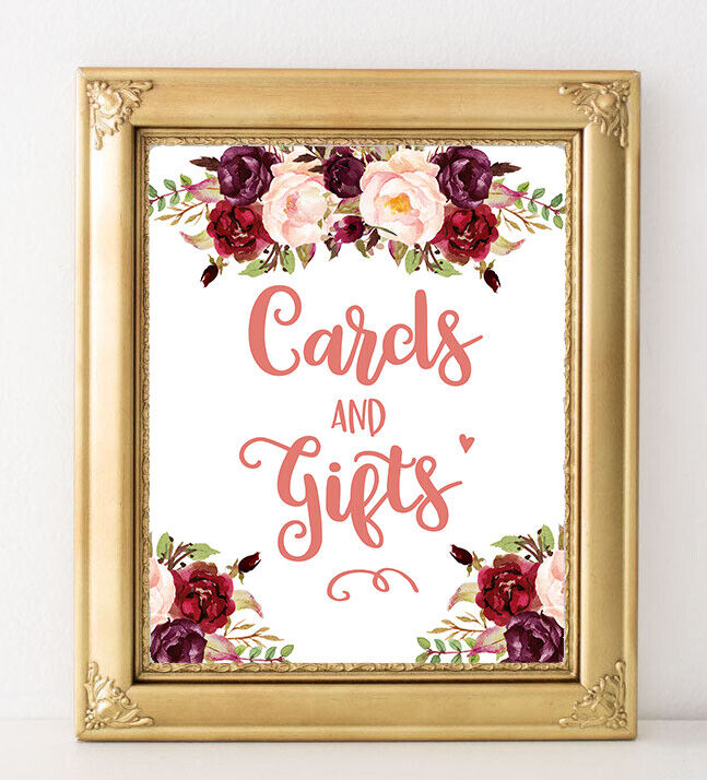 ~Cards and Gifts~ Wedding/Burgundy FlowersRustic/ Style  sig
