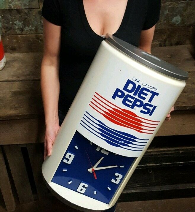 "Vintage Diet Pepsi One Calorie 23-1/2""H X 13""W Advertising Can Clock"