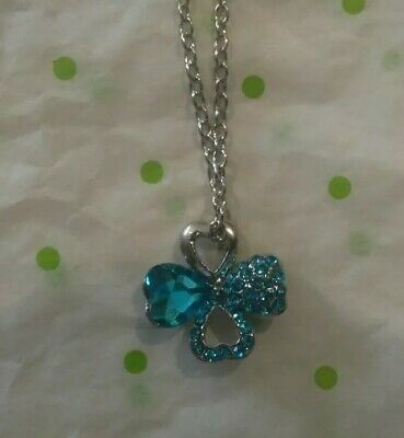 FOUR HEARTS SHAPES BLUE RHINESTONE SILVER NECKLACE ADULT / KID NEW