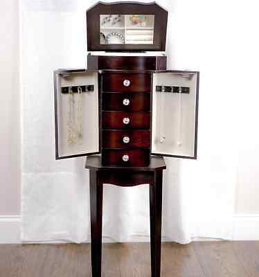 Espresso Armoire - Jewelry Armoire Box Espresso Dark Wood Necklace Stand Tall Mirror 34