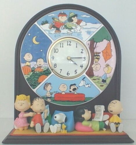 "Peanuts Snoopy Charlie Brown ""Four Seasons "" Danbury Mint Ceramic Clock HTF"