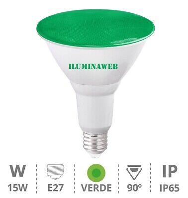 BOMBILLA PAR38 IP65 LED 15W E27 Luz Verde 230V, Lampara jardin exteriores...