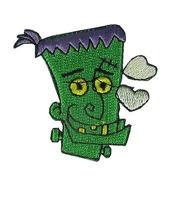 #4491 Halloween Green Face Men Embroidery Iron On Applique - Halloween Embroidery Appliques