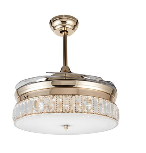 """36"""" Modern Gold Crystal Invisible Ceiling Fan Light Dining R"""